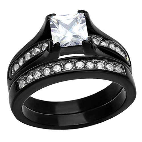FlameReflection Black Stainless Steel Wedding Ring Sets Princess Cut Cubic Zirconia Women Size 5-11 SPJ