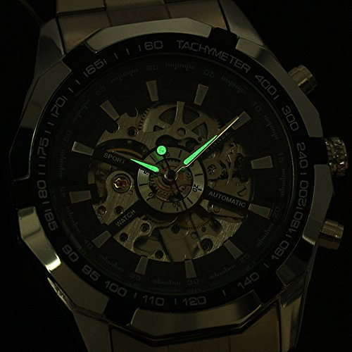 Affute Mens Automatic Mechanical Skeleton Dail Analog Wrist Watches Stainless Steel Bracelet,Silver