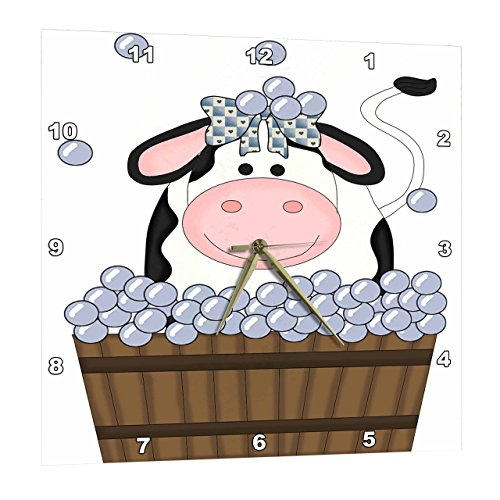 Bath Aluminum Wall Clock - 3dRose Cute Girl Cow in A Wooden Bath Tub with Bubbles - Wall Clock, 10 by 10-Inch (DPP_215458_1)
