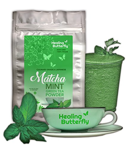 Mint Matcha Green Tea Powder  Organic Japanese Premium Grade  100  Vegan  Packed With Nutrients And Antioxidants  Boosts Your Metabolism And Tastes Great   57 55G  2 03Oz  25 Servings