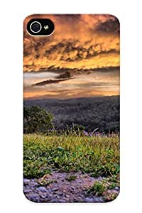 Quality Markrebhood Case Cover With Grass Nature Landscapes Fields Sky Clouds Roads Trail Path Trees Sunset Sunrise Nice Appearance Compatible With Iphone 4/4s