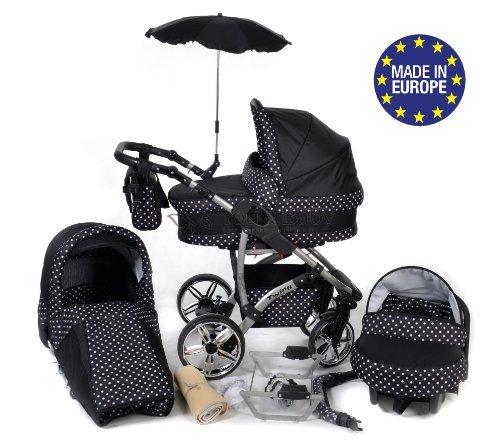 Twing - 3 in 1 Reisesystem einschließlich Kinderwagen mit schwenkbaren Rädern, Kinderautositz, Buggy und Zubehör - Schwarz-weiße Punktmuster