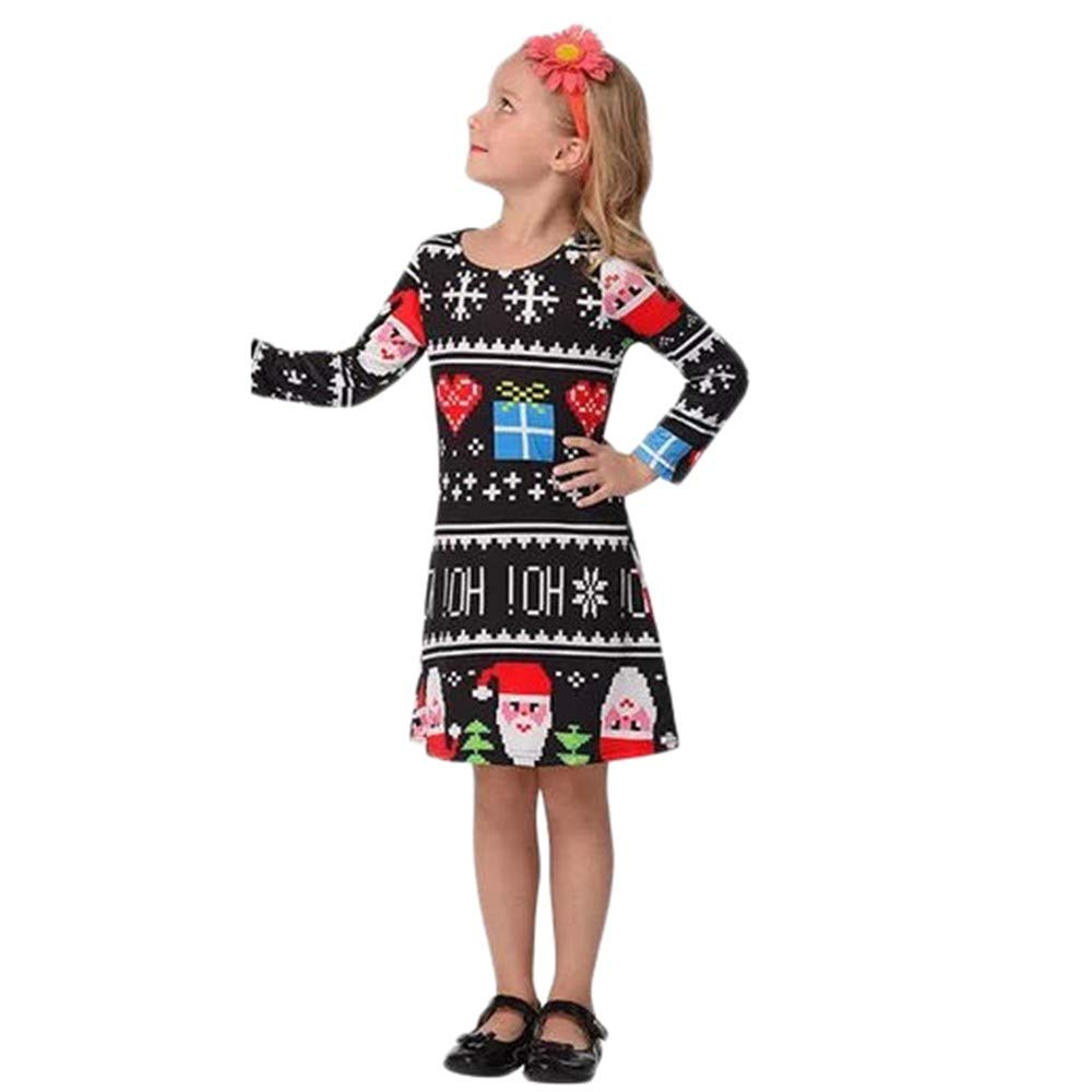 AutumnFall Clearance Sale!!Baby Girls Clothes,Christmas Infants Children Girls Cartoon Candy Star& Santa Claus& Dot Tree Print Dress Outfits(Size:2-3 Years, Black) AutumnFall®