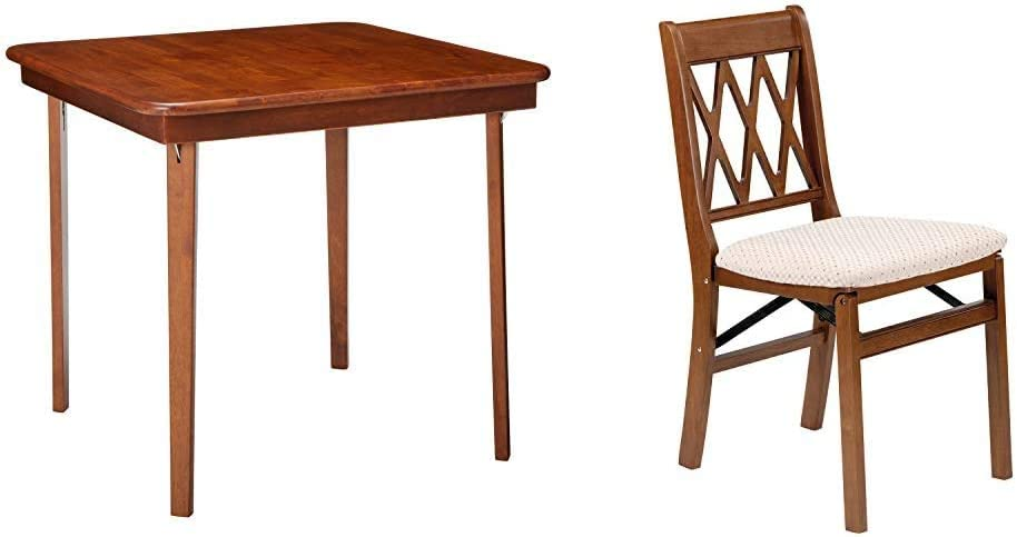 Set of 2 Cherry Meco STAKMORE Straight Edge Folding Card Table Cherry Finish /& Stakmore Lattice Back Folding Chair Finish