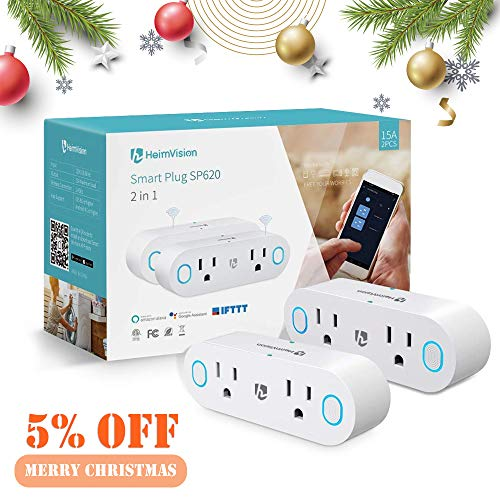 HeimVision Wi-Fi Smart Plug, 2-Pack Mini Smart Wi-Fi Outlets Works with Amazon Alexa/Google Assistant IFTTT, Remote Control Anywhere