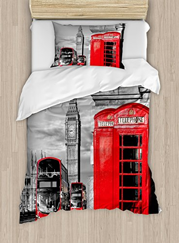 Ambesonne London Duvet Cover Set Twin Size, London Telephone Booth in The Street Traditional Local Cultural England UK Retro, Decorative 2 Piece Bedding Set with 1 Pillow Sham, Red Grey