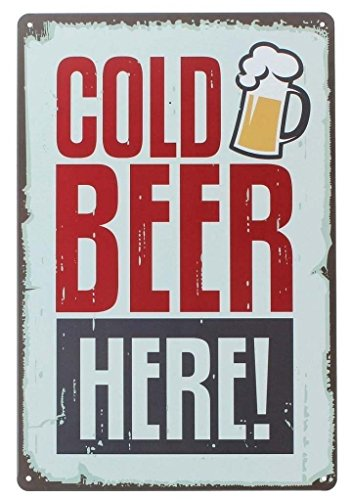 ERLOOD Pin up Cold Beer Here Retro Vintage Decor Metal Tin Sign 12 X 8 - Cold Beer Sign