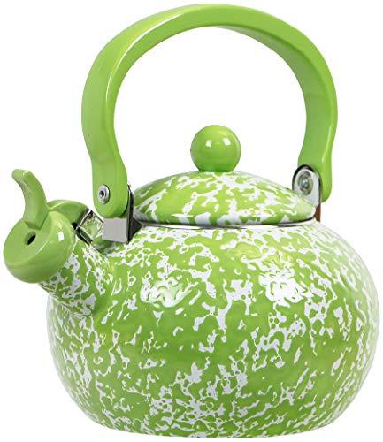 Calypso Basics by Reston Lloyd Whistling Teakettle, 2 quart, Lime Marble - Lime Green Pot