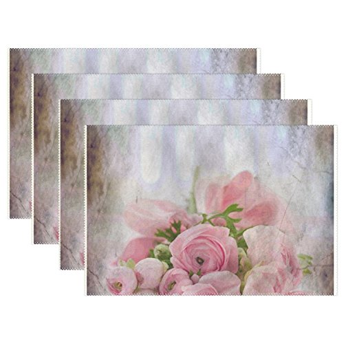 - DNOVING Roses Bouquet Congratulations Arrangement Flowers Placemats Set Of 4 Heat Insulation Stain Resistant For Dining Table Durable Non-slip Kitchen Table Place Mats