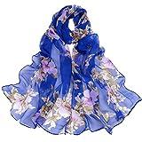 Jonecal Women Peach Blossom Printing Long Wrap Scarf Ladies Shawl Neckerchief (F)