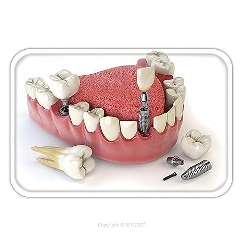 Flannel Microfiber Non-slip Rubber Backing Soft Absorbent Doormat Mat Rug Carpet Tooth Human Implant. Dental Concept. Human Teeth Or Dentures_115388895 for - Echelon Echelon Shower Locker