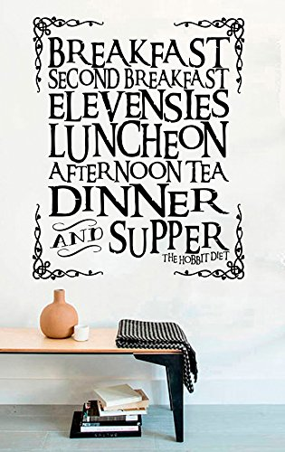 (Lord of the Rings Vinyl Wall Decals Hobbit Quotes Breakfast Second Breakfast Elevenses Luncheon Afternoon Tea Dinner Supper Decor Stickers Vinyl Mural MK5222)