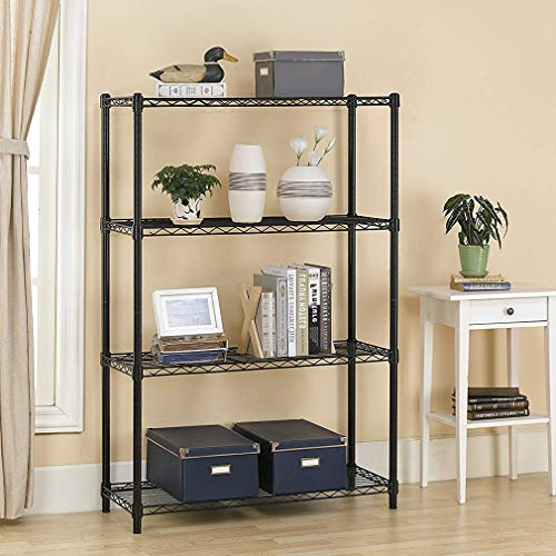 BestOffice Garage NSF Wire Shelf Metal Storage Shelves Heavy Duty Height Adjustable, Black