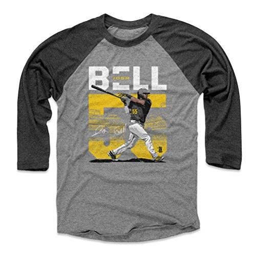 (500 LEVEL Josh Bell Baseball Tee Shirt Large Black/Heather Gray - Pittsburgh Baseball Raglan Shirt - Josh Bell Stadium Y WHT)
