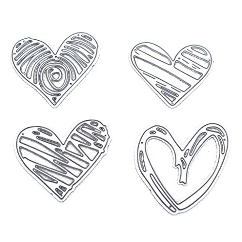 flently 4Pcs Love Heart Shape DIY Die-Cuts Cutting Die Embossing Stencil Templates Mold for Scrapbooking Card Making Paper Crafts