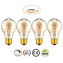 Vintage Edison LED Light Bulb Lamp A19 Spiral Flexible LED Filament Bulb E26 Base Dimmable Warm White 2200K 4W Equivalent 25W, Amber [Energy Class A++] (4 Pack)