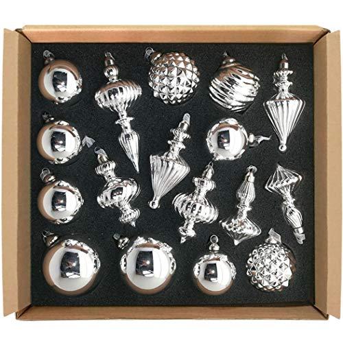GLASSBALL Size M Mercury Silver Christmas Mercury Glass Ornament Tree Decoration (17 Ornaments) (Ornament Mercury)