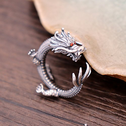 Vintage Unique 925 Sterling Silver Chinese Dragon Open Pinky Ring with Cubic Zironia for Men Women by For Fox (Image #2)