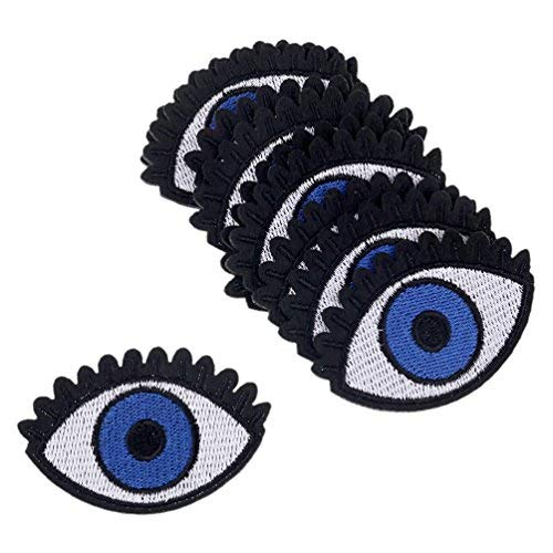 Kesheng 10Pcs Blue Eye Iron on Sew on Embroidered Patches Applique Badge for Clothing Garment Accessories
