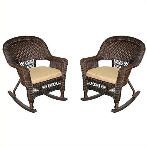 Jeco W00201R-A_2-FS006 Rocker Wicker Chair with Tan Cushion, Set of 2, Espresso