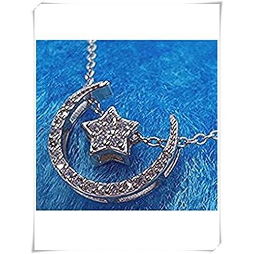 dee5a4d5ec19 Plata de Ley Diamond luna estrella collar Caliente de la venta - www ...