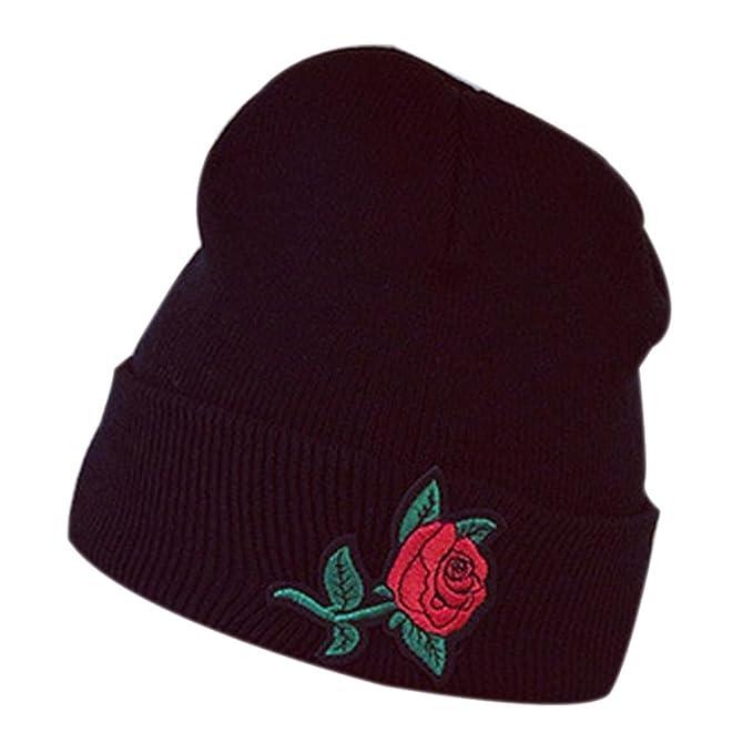 Winter Häkeln Ski Hut,FORH Mode Warm Elegant Rose Stickerei ...
