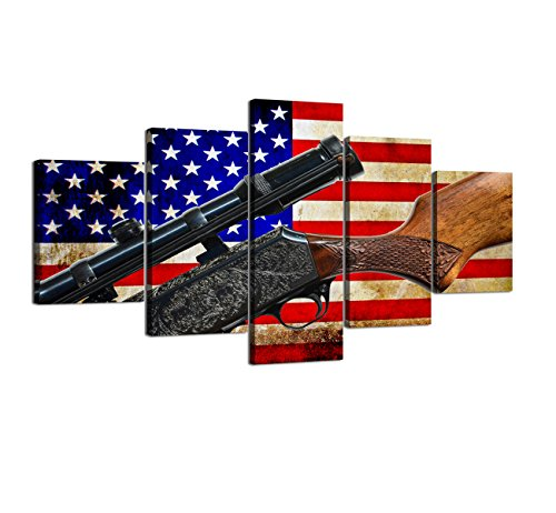 Premium American Flag Painting on Canvas Retro USA with Gun Home Wall Art Patriotic Concept Home Decor Vintage Artwork 5 Piece Giclee for Living Room Stretched Framed Varying Size(60''W x - Cross Antique Yellow