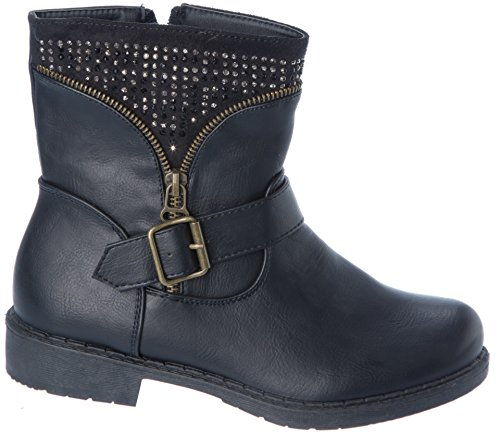 Warm Fleece buckle Boots Shoes Ankle Lining Winter Womans rhinestone Black pnqC77