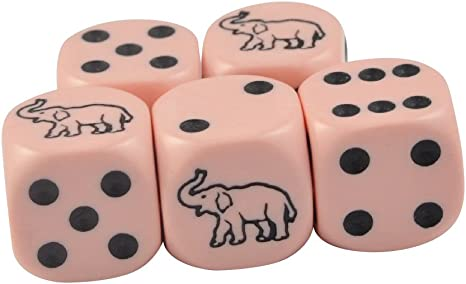 Set of 5 White Cat Dice Round Corner Opaque 16mm Black Spots Organza Bag