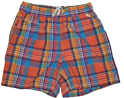 Polo Ralph Lauren Mens Swim Shorts (Orange Plaid, XXL)