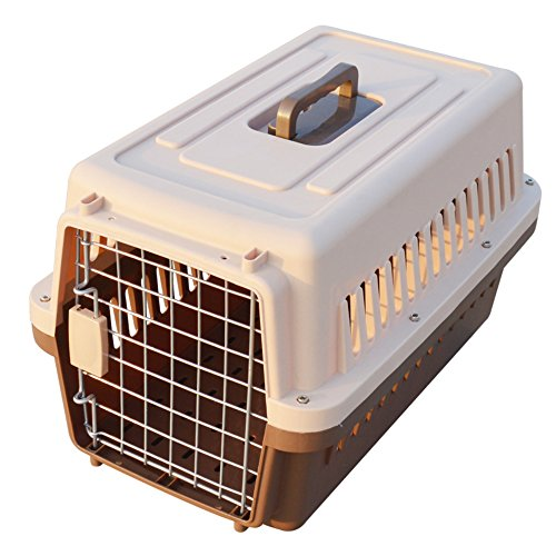 "Paw Essentials 19"" inch Dog and Cat Pet Carrier and Travel Crate (Coffee)"