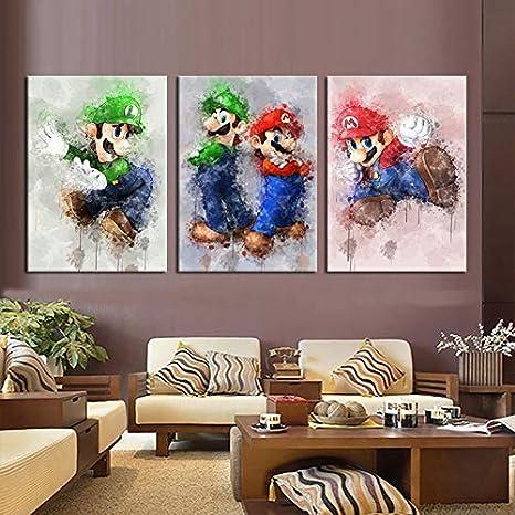 Wandbild Gemälde  Bilder Poster Leinwandbild  Super Mario  Bild auf Leinwand