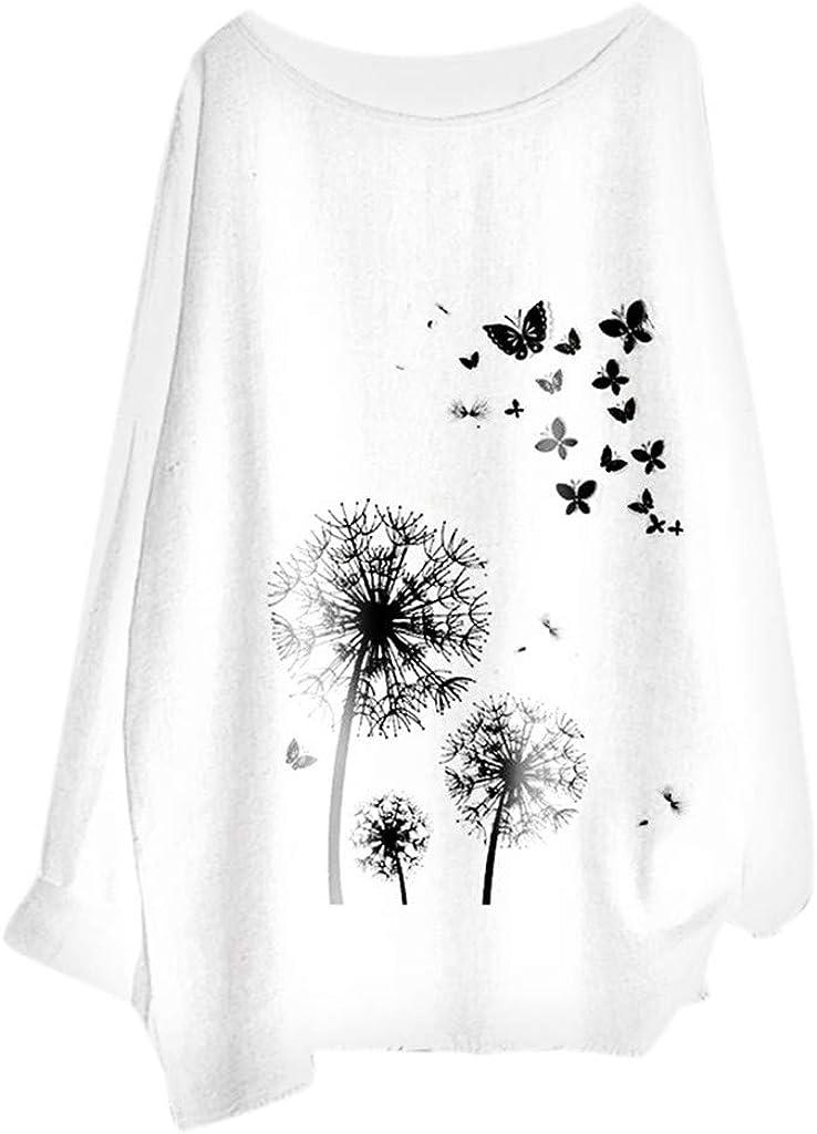 Tops Mujer Oto/ño Tumblr LANSKIRT Blusa con Estampado de Diente de Le/ón y Mariposa para Dama Camisa Mujer Talla Grande Camiseta B/ásica Polos Shirt S-XXL