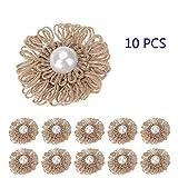 10PCS Burlap Flowers with Pearls DIY Handmade Jute Artificial Flowers Embellishments Dimensional Stickers Wedding Christmas Ornaments Decorative Vintage Hat Accessories