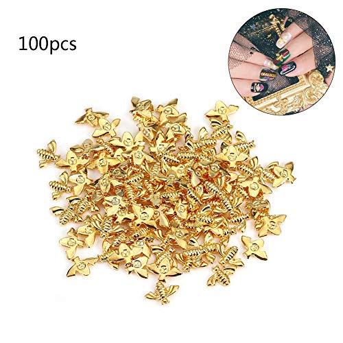 Metal Nail Decoration, 2 Colors 100pcs/Bag Metal Bees 3D Nail Decoration Metal Stick Gold Silver Nail Decals Manicure (Gold) (Bees Metal)