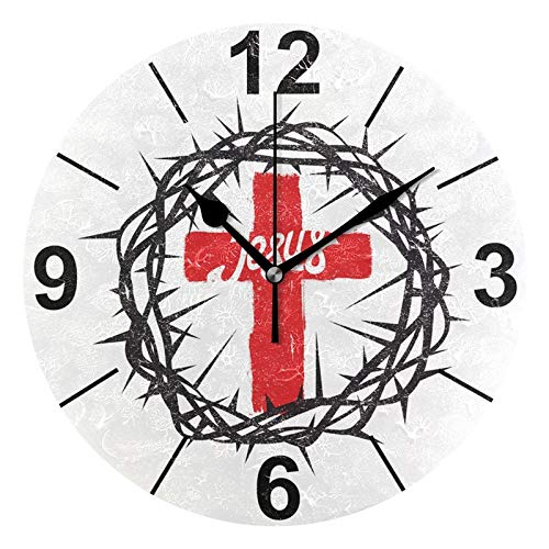 (ALAZA Christian Jesus Cross Round Acrylic Wall Clock, Silent Non Ticking Oil Painting Home Office School Decorative Clock)