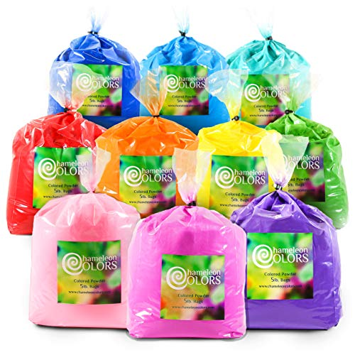 Holi Powder by Chameleon Colors - 50 lbs - 10 Colors. Pure, Authentic Fun - Color Races, 5k, Festival. Red, Yellow, Blue, Green, Orange, Purple, Pink, Navy Blue, Magenta, Aquamarine.]()