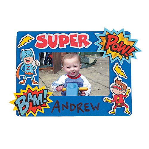 Fun Express Superhero Foam Picture Frame Craft Kits (Makes 12) Superhero Crafts -