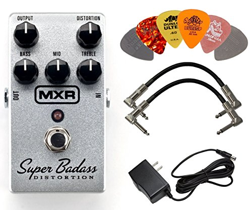 (MXR M75 Super Badass Distortion Guitar Effects Pedal with Power Supply, 2 Patch Cables, and 6 Dunlop Picks)