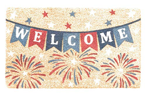 Doormat Patriotic Coir Welcome 30W x 18L Door Mat, Perfect for 4th of July Decorations or Celebrating America ()