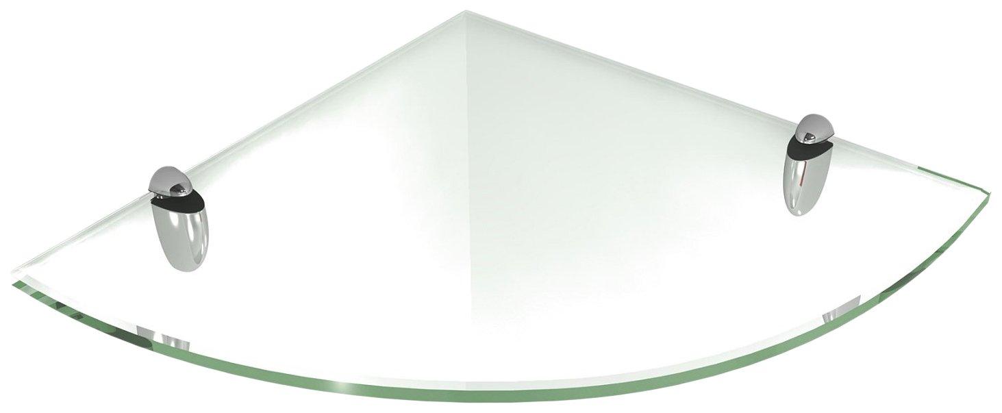 Amazon.com: Fab Glass and Mirror Floating Glass Shelf (Corner) with ...