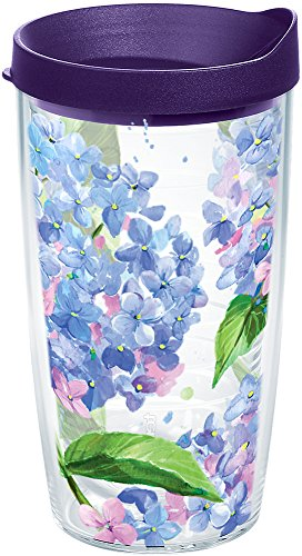Tervis 1172349 Hydrangea Insulated Tumbler with Wrap and Royal Purple Lid, 16oz, (Tervis Tumbler Flowers)