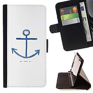 For Apple (5.5 inches!!!) iPhone 6+ Plus / 6S+ Plus Case , Cita Marinero Blanco Azul Marino- la tarjeta de Crédito Slots PU Funda de cuero Monedero caso cubierta de piel
