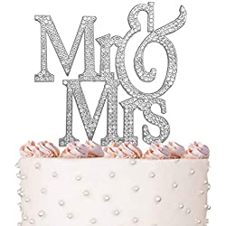 Large Mr&Mrs, Wedding Cake Toppers, Vow Renewal, Anniversary, Crystal Rhinestones on Silver Metal, Party Decorations, Favors