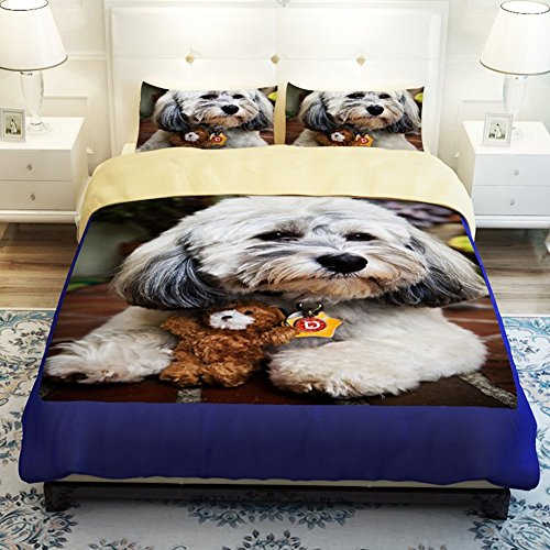 Home Textile New Cute Dogs Thicken Brushed Bedding Sets Pet Dogs Duvet Cover Boys and Girls Bed Sheets Fade, Stain Resistant (Full/Queen size-4pcs, Dog-3,Flat sheet)
