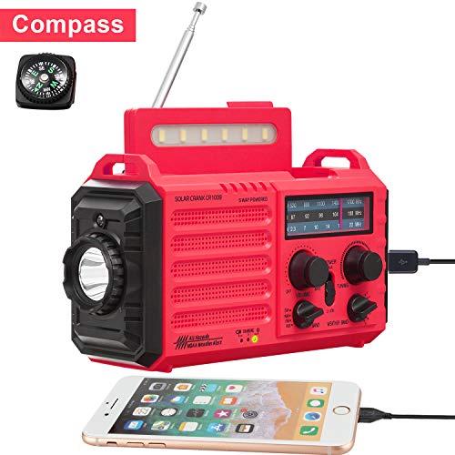 5-Way Powered Weather Radio for Household Outdoor Emergency, NOAA/AM/FM/SW Portable Radio&SOS Alarm, Solar Power, Hand Dynamo Crank,2000mAh Rechargable Battery,USB Charger,Flashlight,Camp Lamp,Compass (Am Fm Sw Portable Radios)