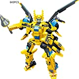 OLS Building Blocks 8-in-1 Super Transformation Engineering Thunder Mech Robot Assembly Models - Yellow (643pcs)