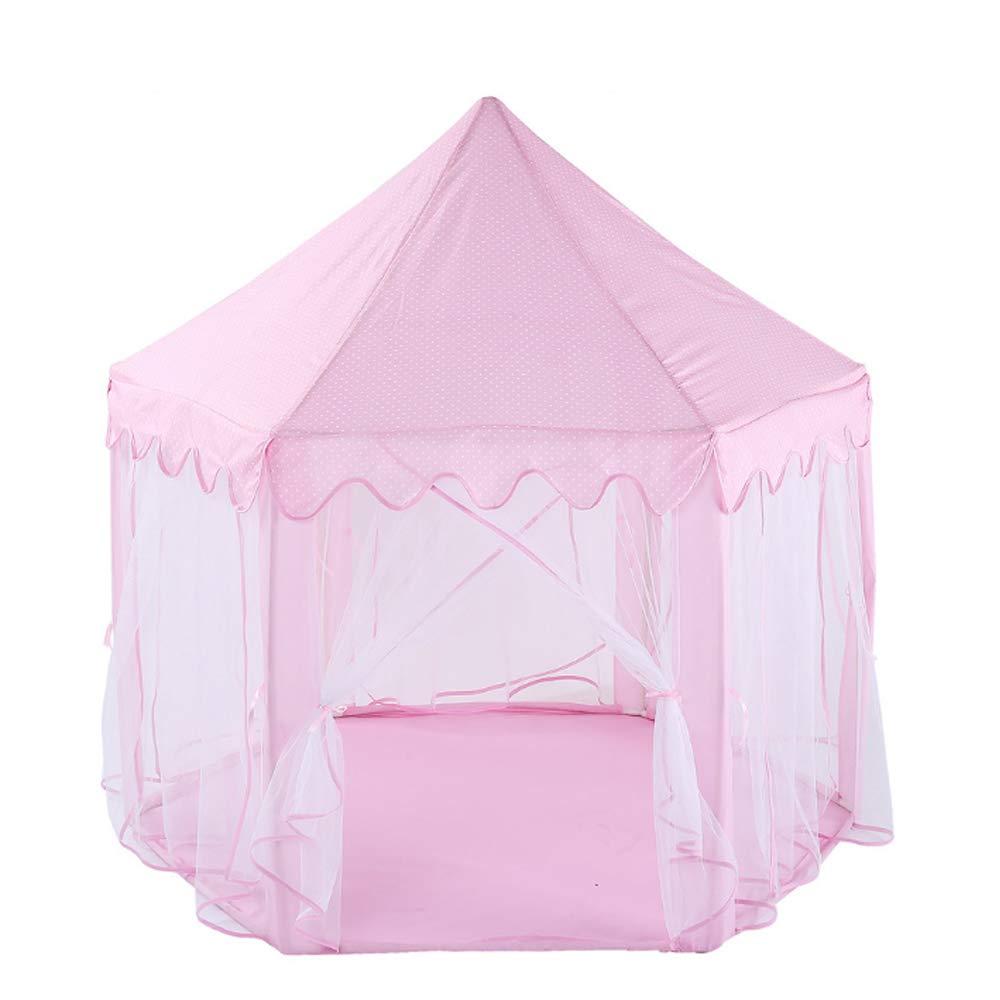 LA6 Kinderzeltinnen-Jungenmädchenspielzeugschlossspielhaus Prinzessinhaus-Kinderzelt im Freien Rosa