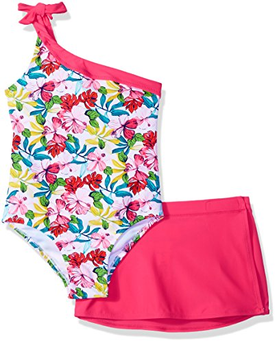Tommy Bahama Little Girls' 1-Piece Swimsuit and Sarong, Bright Floral, 6