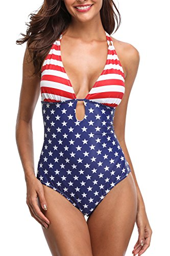 beautyin Women Lace up one Piece Swimsuit USA Flag Bathing Suit Strappy Swimwear
